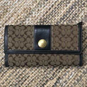 Coach signature tri fold wallet